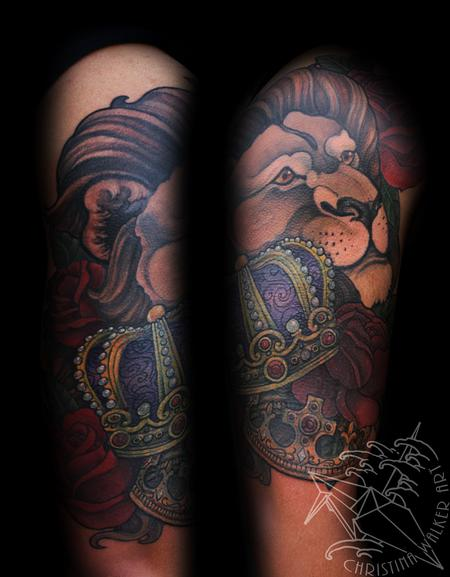 Tattoos - Lion and Crowns Half sleeve - 102015